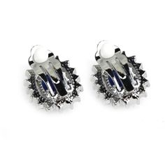 Zircon Ear Pin Earrings - Sapphire Blue + Silver (Pair)