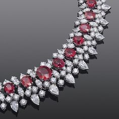 An Important Burmese Ruby And Diamond Necklace Ruby And Diamond Necklace, Ruby Necklace, Ruby Jewelry, Diamond Pendant Necklace, Diamond Jewelry, Jewellery Box, Stone Necklace, Diamond Rings, Sterling Necklaces