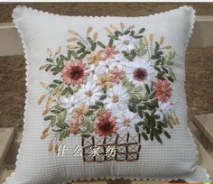 RIBBON HAND EMBRIODERED PILLOWS | 100%cotton pillow cover cushion cover hand made ribbon embroidery ...