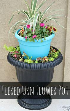 Tiered Urn Flower Pot in 4 easy steps! www.adiamondinthestuff.com
