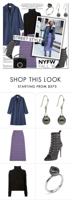 """""""Day Two: The Best NYFW Street Style"""" by littlehjewelry ❤ liked on Polyvore featuring Miu Miu, Giuseppe Zanotti, Proenza Schouler, Pearl & Black, Marc Jacobs, women's clothing, women, female, woman and misses"""