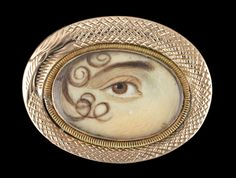 "Gold brooch with ""ouroboros"" surround. Collection of Dr. and Mrs. David Skier #lookoflove #eyeminiatures #loverseye"