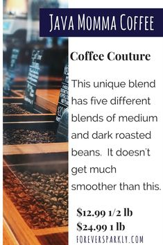 Java Momma Coffee. Coffee Direct Sales. This one of a kind blend of 5 different beans is special to Java Momma Coffee. Coffee Couture is as close to custom coffee as you can get. Click to shop and email kristy@foreversparkly.com with questions.