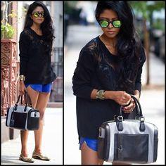 black shirt - blue short or pant