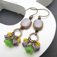 Czech bead earrings bohemian earrings Vintaj brass by BeadyDaze, £9.50