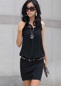 Summer Sleeveless Round Neck Black Package Hip Dressat martofchina.com