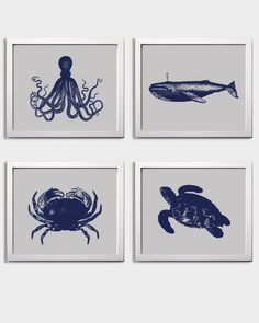 Nautical Nursery Navy Greyl boy Beach Ocean Sea more colors available set of 4 each 11x14. $56.00, via Etsy.