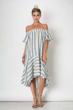 Off shoulder maxi stripe dress