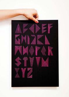 pink stripe alphabet | typography - Nina Gregier - proste kreski - graphic design & art direction
