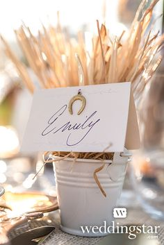Mini Metal Pails as Place Card Holders in our Equestrian Love Style Lookbook {rustic wedding, DIY}