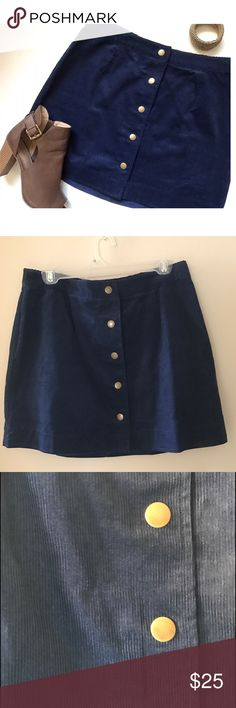 NWT Corduroy Button Down A-Line Skirt - Navy Navy corduroy a-line skirt with gold buttons down the front! NWT. Size 8! Old Navy Skirts A-Line or Full