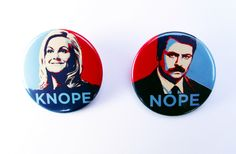 Leslie Knope and Ron Swanson Badge Set - Parks and Recreation, Amy Poehler - Pin Back Badge by TheSquarePenguin on Etsy https://www.etsy.com/listing/246933123/leslie-knope-and-ron-swanson-badge-set
