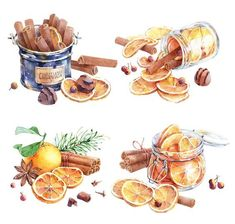 Natalia Tyulkina: Dried oranges and cinnamon on Behance (food art drawing) Dessert Illustration, Watercolor Illustration, Watercolor Food, Watercolor Paintings, Food Sketch, New Year's Food, Photo Images, Dried Oranges, Food Painting