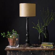 A contemporary turned wooden table in an ebony finish. A really clean design Large Table Lamps, Black Table Lamps, Table Lamp Base, Lamp Bases, Home Decor Styles, Home Decor Accessories, Diy Coffee Table Plans, Wooden Lamp Base, Pooky Lighting
