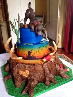 Birthday Cale, Birthday Cakes For Men, Birthday Ideas, Dinasour Cake, Hunting Birthday, Hunting Party, Cake Pictures, Cake Pics, Black Wedding Cakes