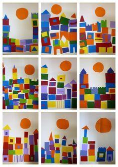 à l'aide de formes de différentes couleurs éventuellement avec restes de tissus ou papier de différentes textures