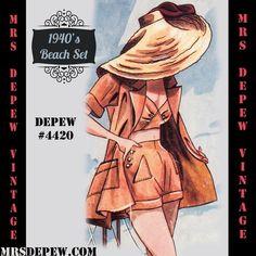 Digital pattern, 1940's Beach Top, Shorts and Jacket # 4420 at MrsDepew.com