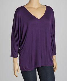 Take a look at this Eggplant V-Neck Top - Plus by Loveappella on #zulily today!