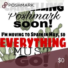 Farewell, Poshmark! I'm moving back to Barcelona in May, so I will be cancelling my Poshmark account and donating all unsold items. NOW is the time to buy that item you've had saved :)) I will accept any REASONABLE offers. No lowballers please <3 kate spade Other