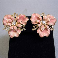 Huge Pink Painted Flower Clip On Earrings, 1960s