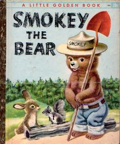 Smokey the Bear, Illustrations by Richard Scarry, Cover I had quite a number of Little Golden Books that I read over and over. Old Children's Books, Vintage Children's Books, My Books, Vintage Library, Story Books, Antique Books, Retro Vintage, Richard Scarry, Nostalgia