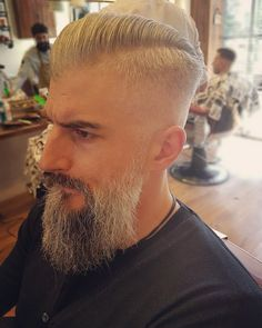 """That's what we call a """"gentleman's"""" side part with a proper beard trim done by our man #krass_gk  #roostersbarbershopathens #roostersbarbershop #roosters #barbershopsathens #barbershopsinathensgreece #μπαρμπερικααθηνα #sidepart #beardtrim #gentleman'ssidepart www.roostersbarbershop.gr"""