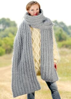 GREY Hand Knitted Mohair Scarf Fuzzy EXTRA LONG Shawl SUPERTANYA 5 STRANDS 1 kg #SuperTanya #Extralonghandmademohairscarf