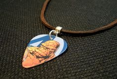 Fantastic Four The Thing Guitar Pick on Brown Suede Cord Necklace by ItsYourPick on Etsy