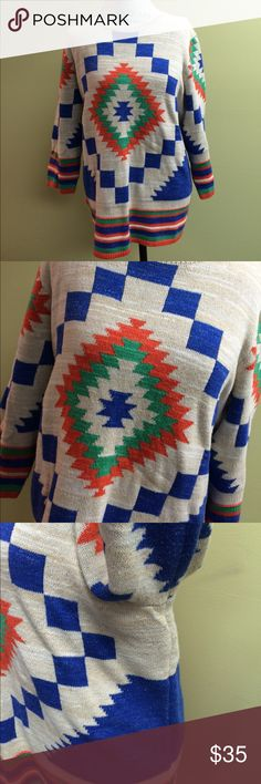 """Ralph Lauren tunic length sweater (top) Tribal designed measures 18"""" arms 26"""" from collar to bottom hem 97% cotton 7% acrylic . This item is flawless and comes from a non smoker seller. 20% off 3 or more items!! Thank you for looking!!💗 Lauren Ralph Lauren Tops"""