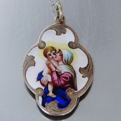 1800's French Sterling & Enamel Religious Medal Mary & Baby Jesus, $245.00