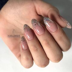 How to choose your fake nails? - My Nails French Nails, Cute Nails, Pretty Nails, Hair And Nails, My Nails, Glitter Tip Nails, Nail Glitter Design, Glitter Force, Gold Nails