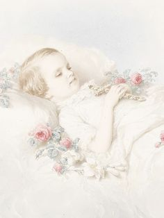 Archduchess Sophie, eldest daughter of Elisabeth and Franz Joseph, on her deathbed. She died in the arms of her mother after suffering dysentery. Painting by Miklós Barabás