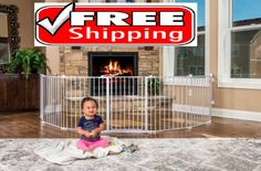 Safety Gate Play Yard Super Wide Shapes Sizes Fire Place Guard Baby Child Pet #Regalo