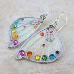 Sihaya Designs Faery Wing Earrings - Rainbow Glitter Wings- Fairy Wing Jewelry
