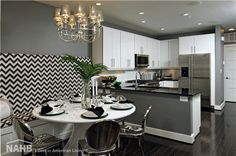 Black and White and . Grey Design Ideas - Elegance and Refinement. Wall Designs For Living Room. 34570298 Decorative Accessories For Living Room. Change Your Living Room Decor On A Limited Budget In Six Steps Room Design, Small Room Design, Dining Room Design, Contemporary Kitchen Design, Contemporary Kitchen, White Round Tables, Furniture Arrangement, Kitchen Design, Grey Dining Room