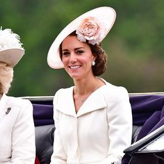 Balenciaga earrings and a Philip Treacy hat added the striking finishing touches to Kate's Trooping the Colour outfit.