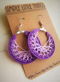 FREE SHIPPING: Crochet Hoop Earrings - Purple by SimpleLittleThingss on Etsy