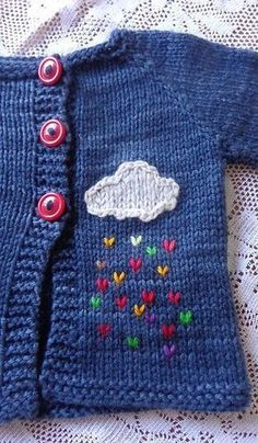 nice detail of a cloud with colored rain for a baby jacket ideas creative crochet Baby Knitting Patterns, Knitting For Kids, Baby Patterns, Knitting Projects, Crochet Patterns, Crochet Baby Sweaters, Knit Or Crochet, Crochet For Kids, Crochet Baby Booties