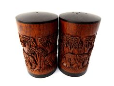 Wooden Elephant Salt Pepper Shaker Set Hand Carved Safari African