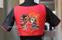 New Blouse Patterns Ideas to Ditch The Conventional Designs - LooksGud. Fabric Painting On Clothes, Dress Painting, Painted Clothes, Saree Painting Designs, Fabric Paint Designs, Blouse Desings, Hand Painted Sarees, Saree Blouse Neck Designs, Designer Blouse Patterns
