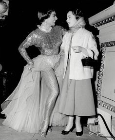 1953. On the set of 'Torch Song' with Ann Blyth. Crawfords wearing Joseff Hollywood Jewelry