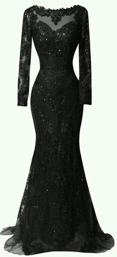 Black sequin floor length dress