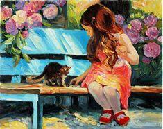 Little Girl and Kitten Oil Painting on Canvas by anastassiaorehova, $60.00