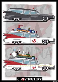 An 1959 Cadillac Miller Meteor Ambulance turned into the and ghostbusters Original Ghostbusters, Extreme Ghostbusters, Cultura Pop, Die Geisterjäger, Cartoon Posters, Cartoon Art, Bros, Ghost Busters, Movie Posters