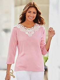 Appliquéd lace around the V-neckline gives it an extraordinary look. It dresses up your favorite jeans or goes perfectly with a skirt or pants ~ Contrast Applique Sweater from Bedford Fair
