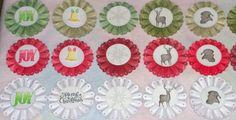 Handmade Rosette Ornaments! check out my blog for project details!! scrapbookscraftscards.blogspot.com