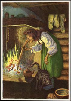 Theodor Kittelsen, troll women using her nose to stir the food