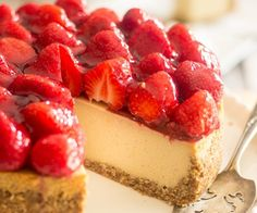 Made with a secret ingredient that will simply blow your mind, this Dairy Free Paleo Strawberry Cheesecake looks, tastes and feels just like the real thing!