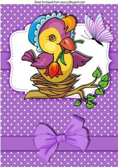 Little bird in a bonnet in her nest A4 on Craftsuprint - Add To Basket!