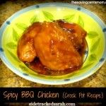 Spicy BBQ Chicken is a delicious crock pot recipe that is so easy to make. Just put all of the ingredients in the crock pot and let it simmer all day.